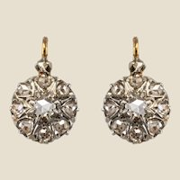 French 19th Century Diamonds 18 Karat Rose Gold Drop Earrings