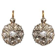 French 19th Century Diamonds 18 Karat Rose Gold Drop Earrings