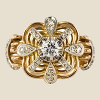 1950s Diamonds 18 Karat Yellow Gold Platinum Thread Dome Ring
