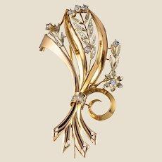 1950s French Aquamarine Diamond 18 Karat Yellow Gold Bouquet Brooch
