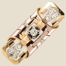1925s Art Deco Diamonds 18 Karat Rose and Yellow Gold Brooch