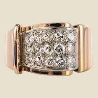 1940s Retro Diamond Paved 18 Karat Rose Gold Tank Ring