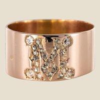"""20th Century """"M"""" Diamond 18 Karat Rose Gold Bangle Ring"""