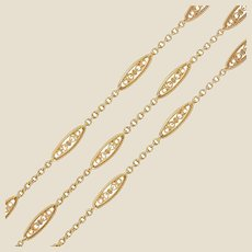 20th Century Belle Epoque Rose Gold Filigree Long Necklace
