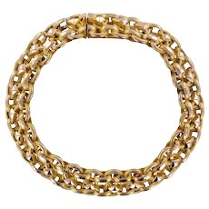 19th Century French Chiseled 18 Karat Yellow Gold Bracelet