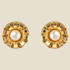 French 1960s Cultured Pearl 18 Karat Yellow Gold Stud Earrings