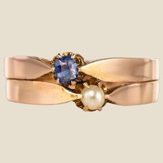 French 19th Century Natural Pearl Sapphire 18 Karat Rose Gold You and Me Ring