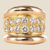 Modern Diamond Paved Gadroon 18 Karat Rose Gold Massive Ring