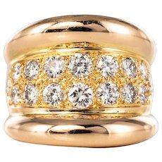 Modern Diamond Paved Gadroon 18 Karat Rose Gold Massive Ring