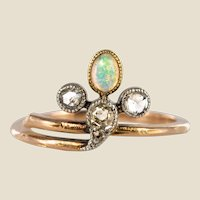 19th Century Opal Diamonds 18 Karat Rose Gold Ring