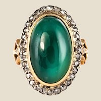 1900s Green Agate Rose-Cut Diamonds 18 Karat Rose Gold Ring