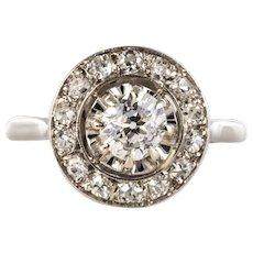 French 1925 Diamonds Platinum Art Deco Round Ring