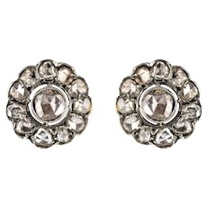 1900s Diamonds 18 Karat Yellow Gold Silver Stud Earrings