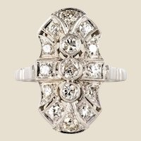 Art Deco Style Diamonds 18 Karat White Gold Ring
