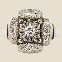 1930s Art Deco Diamonds 18 Karat White Gold Platinum Ring