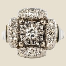 1930s Art Deco Diamonds 18 Karat White Gold Platinum Ring