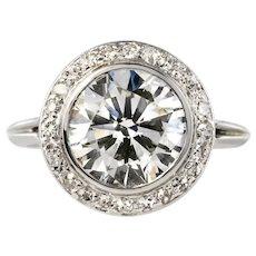 French 1930s Art Deco 18 Karat White Gold 3.84 Carat Diamond Ring