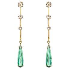 1930s Art Deco Diamonds Tourmaline 18 Karat Yellow Gold Dangle Earrings