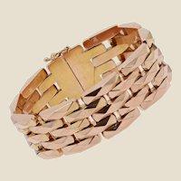 French 1950s 18 Karat Rose Gold Vintage Tank Bracelet