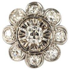 French 1950s 1.25 Carat Diamonds Platinum Flower Ring