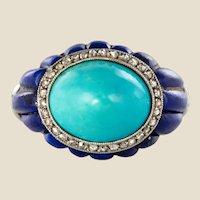 1930s Art Deco Sugarloaf Turquoise Lapis Lazuli Diamonds Platinum Ring