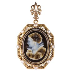 French Aucoc 19th Century Antique Cameo Natural Pearls Locket Pendant Brooch
