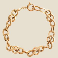 French 19th Century Smooth Chiseled 18 Karat Yellow Gold Curb Bracelet