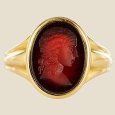 19th Century Carnelian Intaglio 18 Karat Yellow Gold Ring