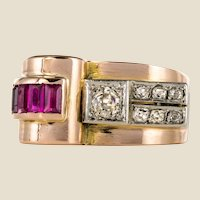 1940s French Ruby Diamond 18 Karat Rose Gold Asymmetric Tank Ring