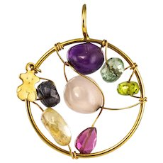 Modern Gemstones 18 Karat Yellow Gold Tous Pendant