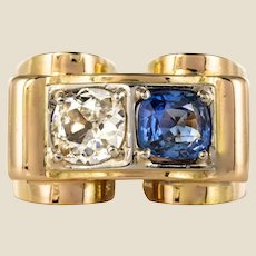 1940s French Sapphire Diamond 18 Karat Yellow Gold Platinum Duo Tank Ring