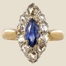 French 19th Century Sapphire Diamonds 18 Karat Yellow Gold Marquise Ring