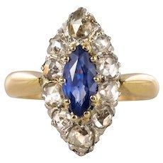 French 19th Century Sapphire Diamonds 18 Karat Yellow Gold Marquise Ring