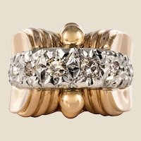 1950s Diamonds 18 Karat Yellow Gold Platinum Retro Ring