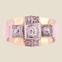 1940s Diamonds 18 Karat Rose Gold Bridge Tank Ring