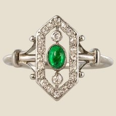 French 1925 Emerald Diamonds Platinum Ring