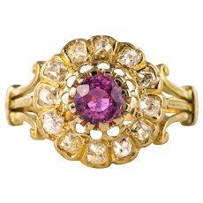French 1910s Pink Sapphire Diamonds 18 Karat Yellow Gold Daisy Ring