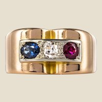 French 1940s Ruby Diamond Sapphire 18 Karat Yellow Gold Patriotic Tank Ring