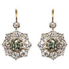 French 19th Century Green Sapphire Diamonds 18 Karat Gold Lever- Back Earrings