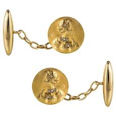 Art Nouveau Becker Diamonds 18 Karat Yellow Gold Cufflinks