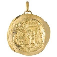 Modernist 18 Karat Yellow Gold Pendant Medal