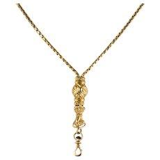 19th Century Napoleon 3 Slide Gloved Hand 18 Karat Yellow Gold Necklace