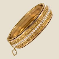 Froment-Meurice 19th Century Natural Pearl Ivy Leaves Gold Bangle Bracelet