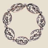19th Century Rose-Cut Diamonds 18 Karat Yellow Gold Silver Bracelet