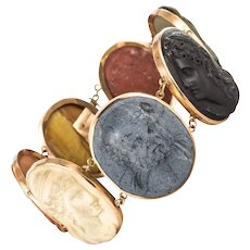 19th Century Lava Stone Cameo 18 Karat Rose Gold Bracelet