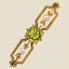 French 19th Century Peridot Natural Pearl 18 Karat Yellow Gold Brooch