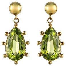 19th Century 4 Carat Peridot 18 Karat Yellow Gold Drop Earrings