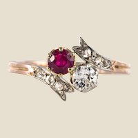 19th Century Ruby Diamonds 18 Karat Rose Gold You and Me Ring