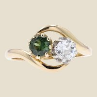 1900s Green Sapphire Diamond 18 Karat Yellow Gold You and Me Ring