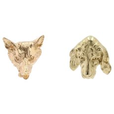 19th Century 18 Karat Yellow Gold Fox and Dog Stud Earrings
